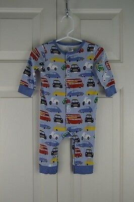 Baby Boden Sleeper Size 3-6 Months Blue Car Bus Airplanes Pajamas PJs Footless