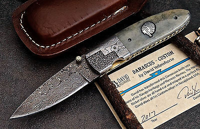 CFK USA DAVID YELLOWHORSE Custom Handmade Damascus CHIEF Folding Pocket Knife