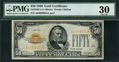 1928 $50 Gold Certificate FR-2404 - Graded PMG 30 - Very Fine