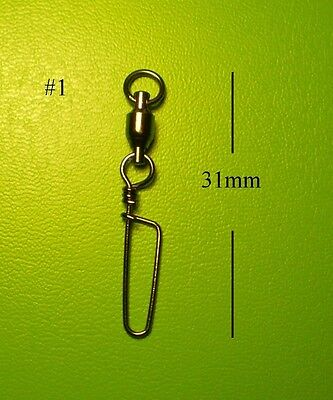 30x DFS size 1, BALL BEARING FISHING SWIVELS WITH COASTLOCK SNAP lures tackle
