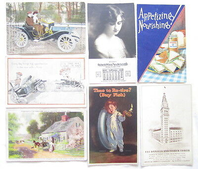 Vintage Postcard Lot Advertise Ford Fisk Tire Hupmobile New Home Sewing Machine