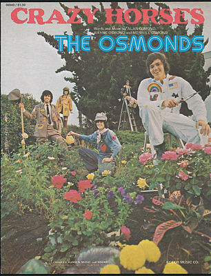 The Osmonds ORIGINAL 1972 Crazy Horses Sheet Music VTG Donny and Marie - Top 100