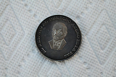 """Mexico Silver Medal, Benito Juarez """"Respect of the others is Peace"""" 1972"""