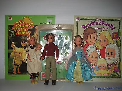 Mattel Sunshine Family Dolls, NRFC Outfit and Two uncut Paper Doll Sets CB