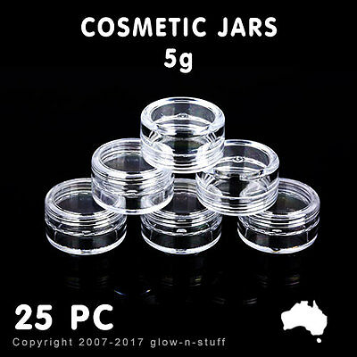 25 X COSMETIC JARS 5g PLASTIC SAMPLE CONTAINER BEAUTY LIP BALM POTS JAR AND CAPS