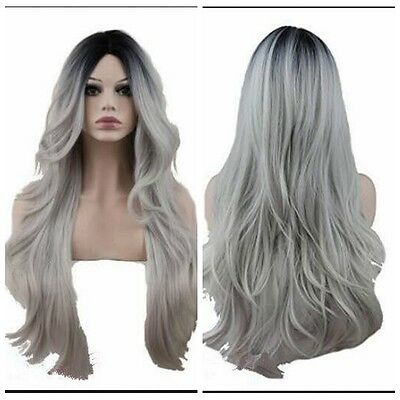 Women Fashion Wig Wavy Curly Ombre Black Root Grey Cosplay Anime Wigs Full Wigs