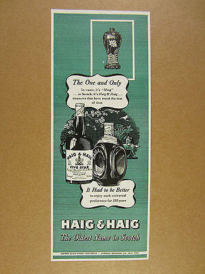 1945 Haig & Haig Scotch ming vase & bottle art illustration vintage print Ad