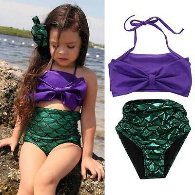 Girls Little Mermaid Bikini Suit Swimmable Swimming Princess Costume Swimsuit #Y