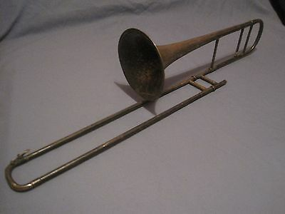 Vintage  Brass Trombone Lyon Healy  Chicago F. Jaubert  Pairis Great Wall Hanger