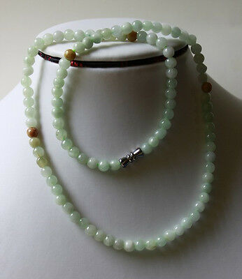 """Untreated 100% Natural (Grade A) Chinese Jadeite Jade Beads Necklace 5.5mm, 20"""""""