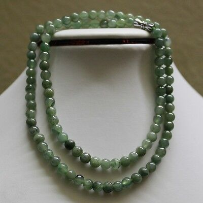 """100% Natural (Grade A) Untreated Green Jadeite Jade Beads Necklace ** 5.7mm, 20"""""""