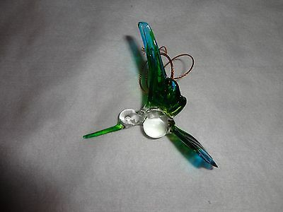 Hanging Humming Bird Blue Green Figurine of Blown Glass Crystal
