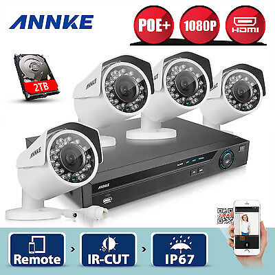 ANNKE 4CH 4 POE 1080P HD Network Security Camera CCTV System IR Night Vision 2TB