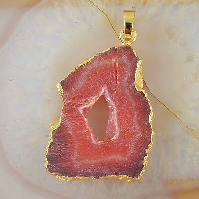 Red Agate Druzy Geode Slice Pendant Bead Gold Plated T027580