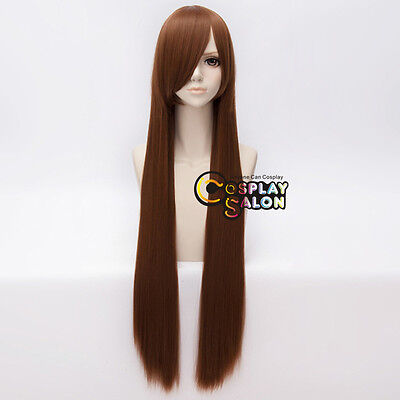 2ce1c1ef445 100CM Long Straight Women Brown Fashion Party Synthetic Hair Anime Cosplay  Wig