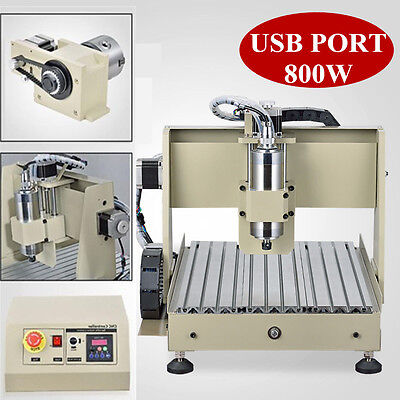 NEW 4 Axis CNC Router Engraver 3D Engraving Machine VFD 3040T Milling Drill USB!