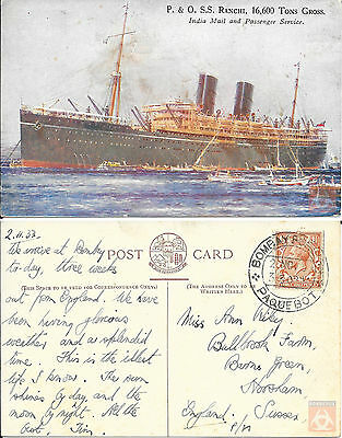 Angleterre - Carte Postale PAQUEBOT - RANCHI - Posted at Sea 1933 - Bombay