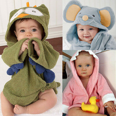 NEW Baby Kids Boy Girl Cute Animal Cartoon Hooded Beach Bath Towel Wrap Bathrobe