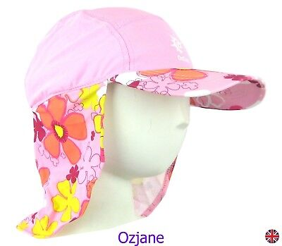 Baby Girls Uv 50 +Ozcoz Sun Swim Hat Sun Protection Legionnaire Pink 1 To 2 Yrs