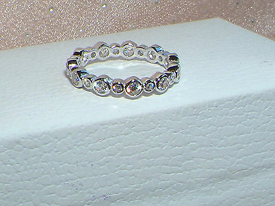 925 Sterling Silver Pandora inspired full eternity Ring,wedding band size 7/O