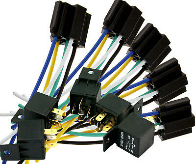 5 x 12V 5 Pin Relay Switch With Socket Holder For Car Truck Van Motorcycle Boat