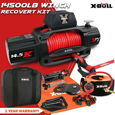 X-BULL 12V 14500LBS Electric Winch 26M Synthetic Rope Wireless Remote 4x4 4WD