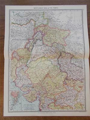 Antique c1904 Colour Map of NORTH WEST INDIA & THE PAMIRS HARMSWORTH ATLAS