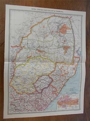 Antique c1904 Colour Map of NATAL TRANSVAAL ORANGE RIVER COLONY SOUTH AFRICA