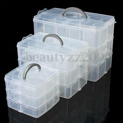 Compartment Box Clear Plastic Storage Organiser Tool Case Jewellery Craft Beads