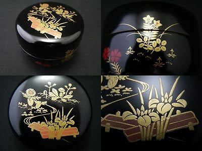 Japan Lacquer Wooden Tea Caddy The Flowers Of 4 Seasons Makie Hira-Natsume (F7)