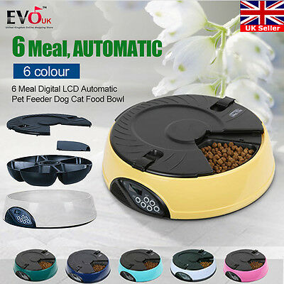 6 Meal Day Digital Lcd Automatic Pet Feeder Dog Cat Food Auto Dispenser Bowl