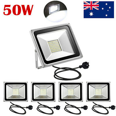5X 50W AU PLUG LED SMD Floodlight Outdoor Cool White Lamp Spot Flood Light 240V
