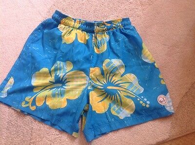 Mens Ocean Pacific Blue & Yellow Flowered Swim Shorts Size Small