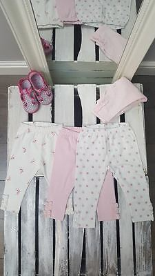 KIDS GIRLS cotton rich pink flowers roses pattern LEGGINGS   (K-24)