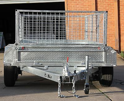 8x5  box trailer galvanised with 600mm cage 2000kg ATM  2.5MM chequer plate