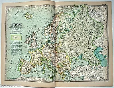 Original 1897 Map of Europe by The Century Company