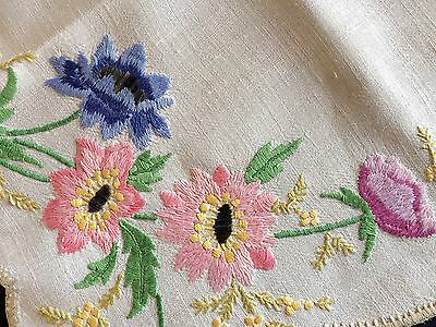 Awesome Vintage Heavily Hand Embroidered Cream Irish Linen Tablecloth Gorgeous