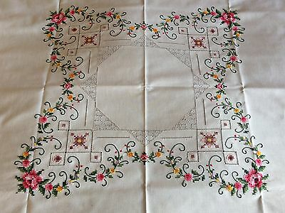 Super Vintage Cross Stitch Embroidered & Drawn Thread Cream Cotton Tablecloth