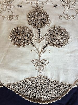 Vintage Madeira Style Work Embroidered & Knitted Cream Cotton Round Tablecloth