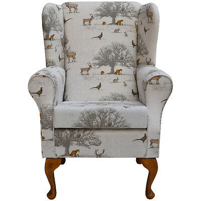 Fireside Wingback Chair in Taton Autumn Fabric - FREE UK DELIVERY