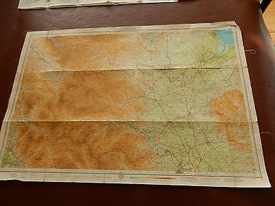TEESDALE BIG  MAP ON LINEN 84/57 CM   civil defense used in cold war  TIRED