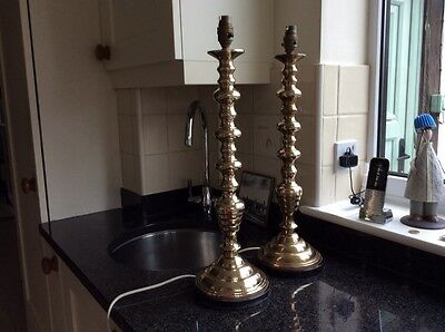 Pair Of Brass Candlestick Lamps/lights With Shades