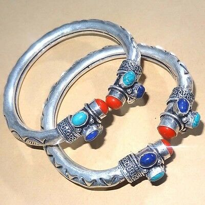 Wholsale Lot 925 Silver Plated Coral,turquoise & Lapis 2 Pcs  Bangle / Cuff