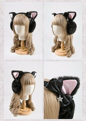 1pc Cute Earmuffs Fashion Girls Cat Ears Bowknot Winter Headband Earwarmers Pad