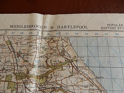 BIG MAP PAPER    56/77 CM  civil defense used in WW2 HOME GUARD HARTLEPOOL
