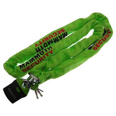 MAMMOTH LOCK AND CHAIN 10MM x 180CM MOTORCYCLE MOTORBIKE SECURITY GREEN SAFE J&S