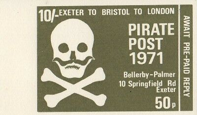 PIRATE POST 1971 10/- 50p EXETER TO BRISTOL TO LONDON CINDERELLA STAMP
