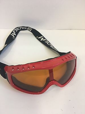 Children's Red Skiing Goggles With Black Adjustable Strap