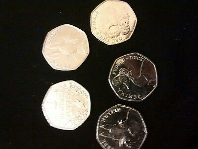 2016 FULL SET OF 5 X 50p's  BEATRIX POTTER COINS RARE & COLLECTABLE