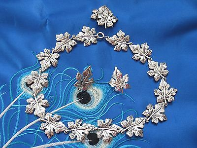 Rare Vintage Danecraft Sterling Silver Maple Leaves Necklace and Earrings